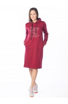 Платье из футера Yesterday бордовое ФП1357П5
