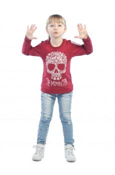Свитшот детский Череп цветочками ФС5016П8 бордовый