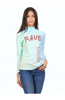 Водолазка  ЛВ0296П1 Женская с принтом Reve короткое горло голубой