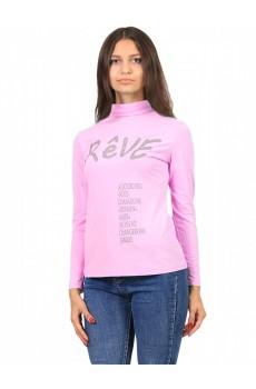 Водолазка  ЛВ0295П1 Женская с принтом Reve длинное горло розовый