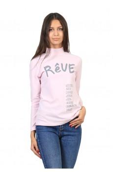 Водолазка  ЛВ0296П1 Женская с принтом Reve короткое горло розовый