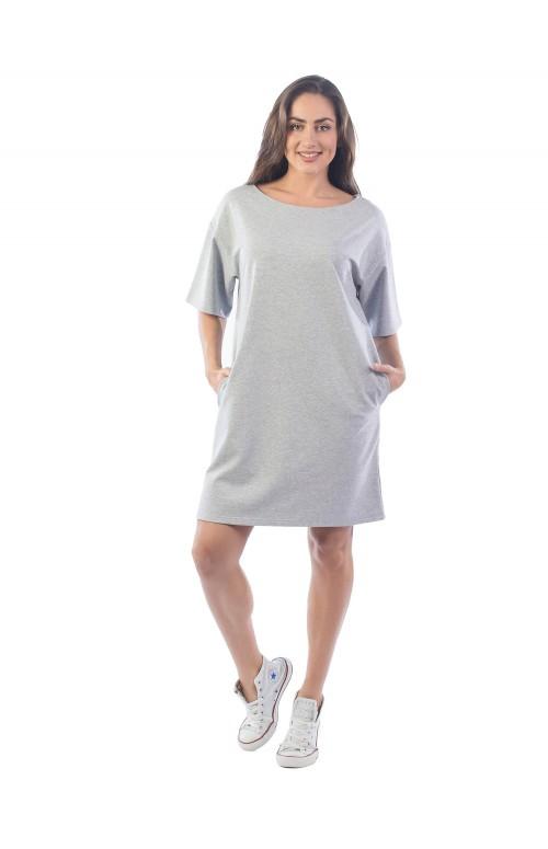 Платье из футера ФП1337 серый-меланж