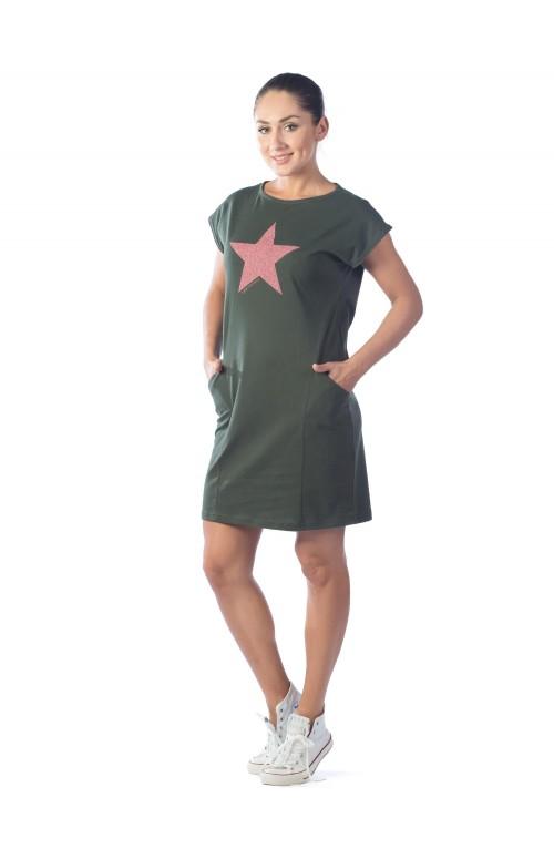 Платье рельефное Fullallert КП1327П5 хаки