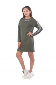 Платье из футера Unique Clothing хаки ФП1406П1