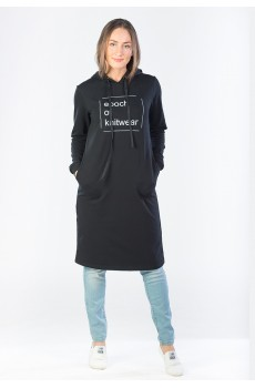 Платье из футера Epoh of knitwear черное ФП1357П1