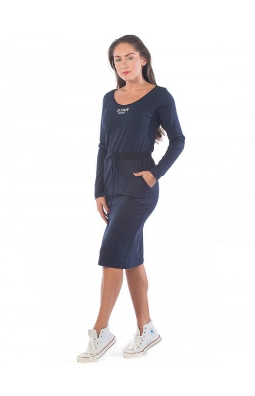 Платье с рибаной темно-синий КП1365П4