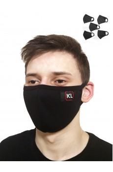 Маска защитная черная в упаковке 5 шт с окантовкой KL М1442УП5