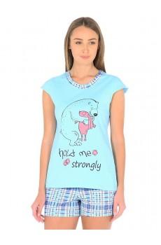 Комплект Фортуна (футболка +шорты) бирюза (хлопок)