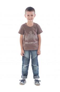 """Футболка детская ДКФ1169 коричневый с принтом """"Big city"""""""